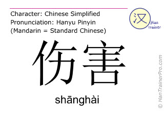 汉字  ( shanghai / sh&#257nghài ) 包括发音 (英文翻译: hurt )