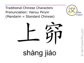 Chinese characters  ( shang jiao / shàng jiáo ) with pronunciation (English translation: Bladder 31 )
