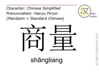 Chinesische Schriftzeichen  ( shangliang / shāngliang ) mit Aussprache (Deutsche Bedeutung: diskutieren )