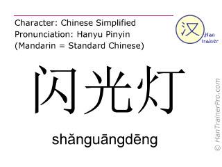 Caracteres chinos  ( shanguangdeng / shănguāngdēng ) con pronunciación (traducción española: flash )