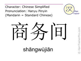 Chinesische Schriftzeichen  ( shangwujian / shāngwùjiān ) mit Aussprache (Deutsche Bedeutung: Business-Suite )