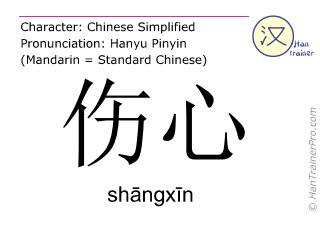 汉字  ( shangxin / sh&#257ngx&#299n ) 包括发音 (英文翻译: sad )