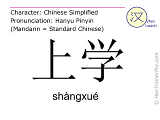 Chinese characters  ( shangxue / shàngxué ) with pronunciation (English translation: to go to school )
