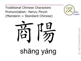 Chinesische Schriftzeichen  ( shang yang / shāng yáng ) mit Aussprache (Deutsche Bedeutung: Dickdarm 1 )