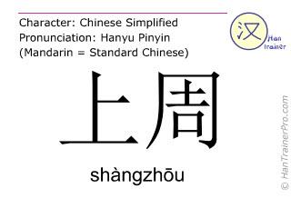 Chinese characters  ( shangzhou / shàngzhōu ) with pronunciation (English translation: last week )