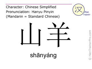 汉字  ( shanyang / shānyáng ) 包括发音 (英文翻译: goat )