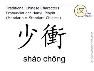Chinesische Schriftzeichen  ( shao chong / shào chōng ) mit Aussprache (Deutsche Bedeutung: Herz 9 )