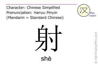 Chinesische Schriftzeichen  ( she / shè ) mit Aussprache (Deutsche Bedeutung: schießen )