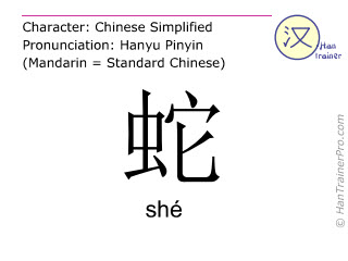 Chinese characters  ( she / shé ) with pronunciation (English translation: snake )