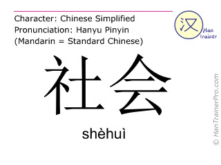 Chinese characters  ( shehui / shèhuì ) with pronunciation (English translation: society )