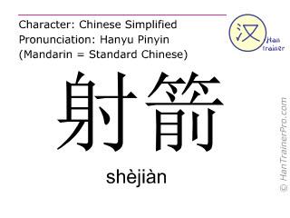 Chinesische Schriftzeichen  ( shejian / shèjiàn ) mit Aussprache (Deutsche Bedeutung: Bogenschießen )