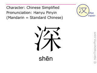 Chinese characters  ( shen / shēn ) with pronunciation (English translation: deep )
