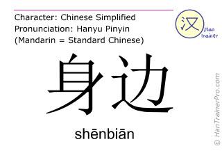 Caracteres chinos  ( shenbian / shēnbiān ) con pronunciación (traducción española: </b><i>(Disculpe - todavía no hemos traducido </i>身边 ( shenbian / shēnbiān ) <i> al español. Por favor, intente la version inglés)</i><b> )