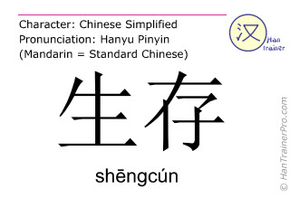 Chinesische Schriftzeichen  ( shengcun / shēngcún ) mit Aussprache (Deutsche Bedeutung: leben )