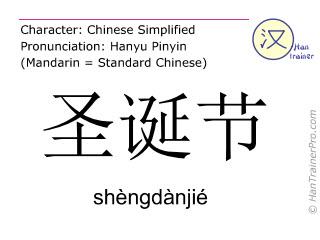 Chinese characters  ( shengdanjie / shèngdànjié ) with pronunciation (English translation: Christmas day )