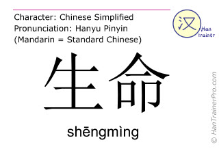 Chinese characters  ( shengming / shēngmìng ) with pronunciation (English translation: life )
