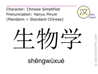 Chinese characters  ( shengwuxue / shēngwùxué ) with pronunciation (English translation: biology )
