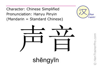 Chinese characters  ( shengyin / shēngyīn ) with pronunciation (English translation: sound )