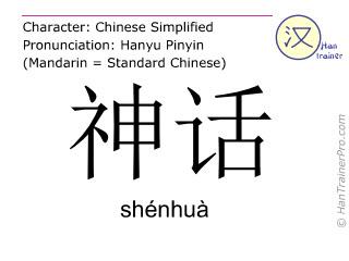 Caractère chinois  ( shenhua / shénhuà ) avec prononciation (traduction française: mythologie )