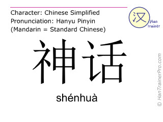 Chinese characters  ( shenhua / shénhuà ) with pronunciation (English translation: mythology )