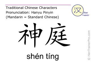 Chinesische Schriftzeichen  ( shen ting / shén tíng ) mit Aussprache (Deutsche Bedeutung: Du Mai 24 )