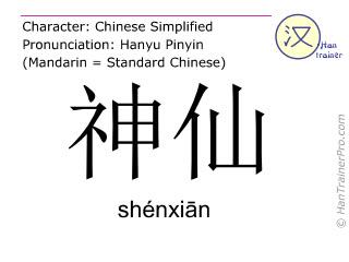 汉字  ( shenxian / shénxiān ) 包括发音 (英文翻译: immortal (noun) )