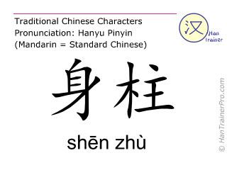 Caractère chinois  ( shen zhu / shēn zhù ) avec prononciation (traduction française: Du Mai 12 )