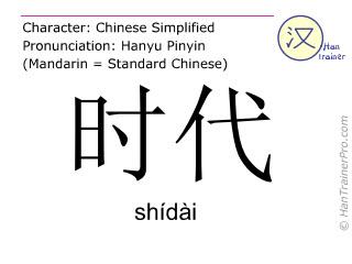 Chinese characters  ( shidai / shídài ) with pronunciation (English translation: age )