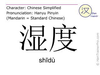 汉字  ( shidu / shīdù ) 包括发音 (英文翻译: humidity )