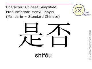 Chinese characters  ( shifou / shìfŏu ) with pronunciation (English translation: whether )