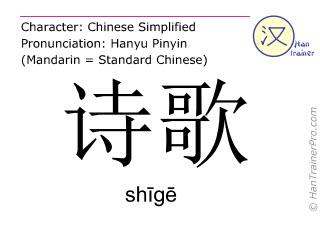 Chinesische Schriftzeichen  ( shige / shīgē ) mit Aussprache (Deutsche Bedeutung: Dichtung )