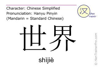 Chinesische Schriftzeichen  ( shijie / shìjiè ) mit Aussprache (Deutsche Bedeutung: Welt )