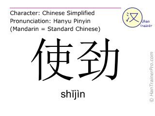 Chinesische Schriftzeichen  ( shijin / shĭjìn ) mit Aussprache (Deutsche Bedeutung: mit aller Kraft )