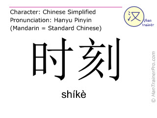 Chinese characters  ( shike / shíkè ) with pronunciation (English translation: point in time )