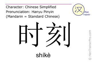 Chinesische Schriftzeichen  ( shike / shíkè ) mit Aussprache (Deutsche Bedeutung: Zeitpunkt )