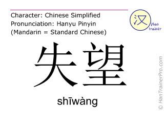Chinesische Schriftzeichen  ( shiwang / shīwàng ) mit Aussprache (Deutsche Bedeutung: Enttäuschung )