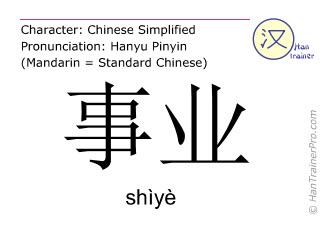 Caracteres chinos  ( shiye / shìyè ) con pronunciación (traducción española: </b><i>(Disculpe - todavía no hemos traducido </i>事业 ( shiye / shìyè ) <i> al español. Por favor, intente la version inglés)</i><b> )