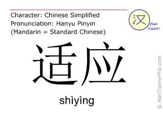 Caractère chinois  ( shiying / shìyìng ) avec prononciation (traduction française: s'adapter )