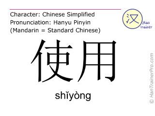 Caractère chinois  ( shiyong / shĭyòng ) avec prononciation (traduction française: utiliser )