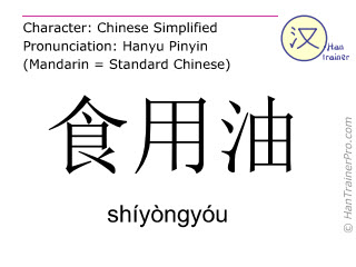 Chinese characters  ( shiyongyou / shíyòngyóu ) with pronunciation (English translation: cooking oil )