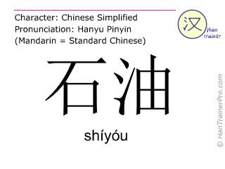 Caractère chinois  ( shiyou / shíyóu ) avec prononciation (traduction française: pétrole )