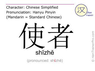 Chinese characters  ( shizhe / shĭzhĕ ) with pronunciation (English translation: emissary )