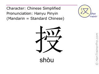 汉字  ( shou / shòu ) 包括发音 (英文翻译: to teach )