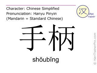 Chinese characters  ( shoubing / shŏubĭng ) with pronunciation (English translation: hand shank )