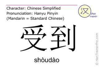 Chinesische Schriftzeichen  ( shoudao / shòudào ) mit Aussprache (Deutsche Bedeutung: erleiden )