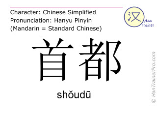 Caracteres chinos  ( shoudu / shŏudū ) con pronunciación (traducción española: capital )