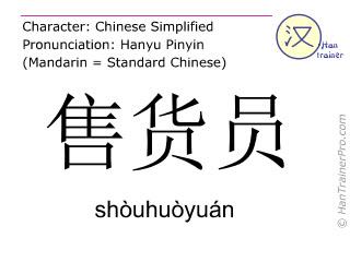 Chinesische Schriftzeichen  ( shouhuoyuan / shòuhuòyuán ) mit Aussprache (Deutsche Bedeutung: Verkaufsangestellte )