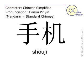 Chinesische Schriftzeichen  ( shouji / shŏujī ) mit Aussprache (Deutsche Bedeutung: Mobiltelefon )