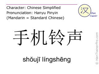 Chinese characters  ( shouji lingsheng / shŏujī língshēng ) with pronunciation (English translation: ringtone )