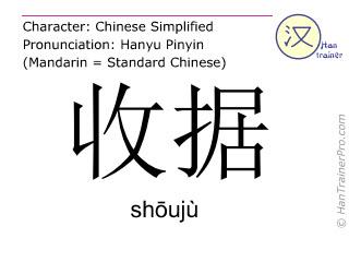 Chinese characters  ( shouju / shōujù ) with pronunciation (English translation: receipt )